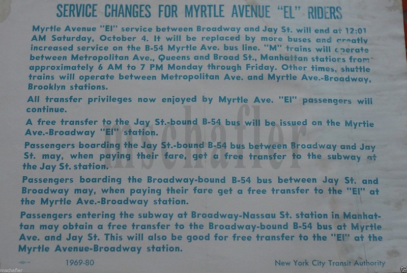 "Service Changes For Myrtle Avenue ""El"" Riders"