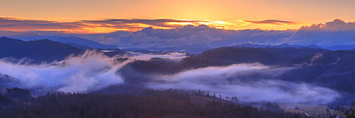 sunrise dawn sun clouds fog foothills parkway great smoky mountains national park tennessee
