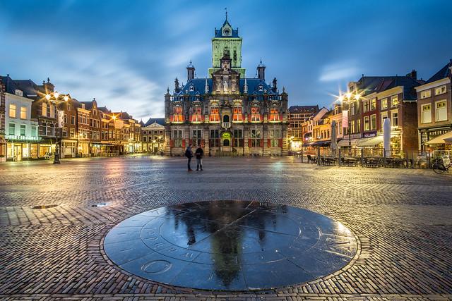 Delft city hall reflection