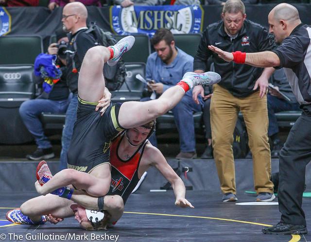 160A Semifinal - Zach Schneider (Caledonia-Houston) 37-3 won in sudden victory - 1 over Kaden Spindler (West Central Area-Ashby-Brandon-Evansville) 44-4 (SV-1 11-9) - 180303amk0065