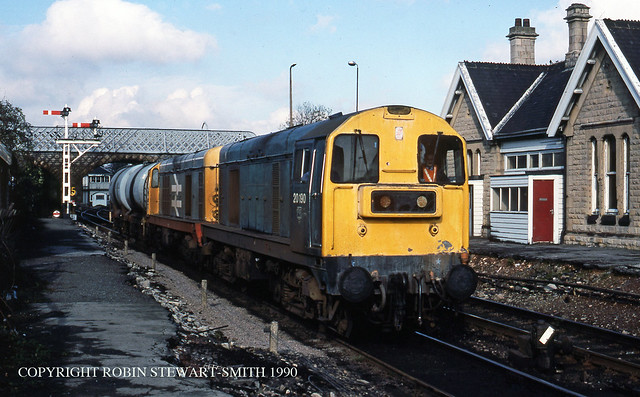 BR Class 20 Nos 20104 & 20190 on T11 Empty Tanks from Shirebrook TMD for Shirebrook Sidings 25th October 1990 copy