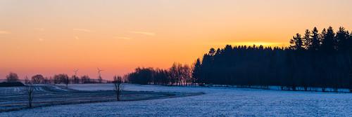sunrise vogtland germany panorama landscape trees winter snow field