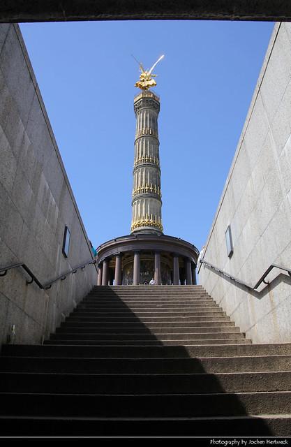 Siegessäule seen from the pedestrian tunnel, Berlin, Germany