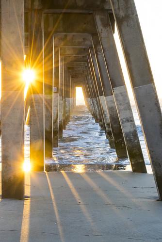 beach sunrise waves pier wilmington