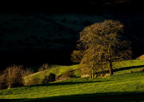 monsalldale wyevalley derbyshire firstlight shadow peakdistrict winter