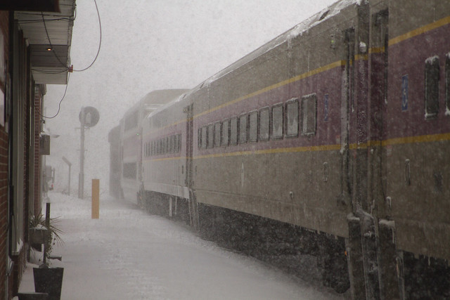 Inbound train to North Station, Boston, during Bombogenesis (2018) ; Wakefield, Massachusetts