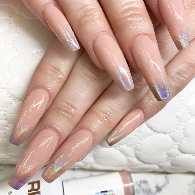 long,nails,ideas,coffin,nude,holographic,ombre
