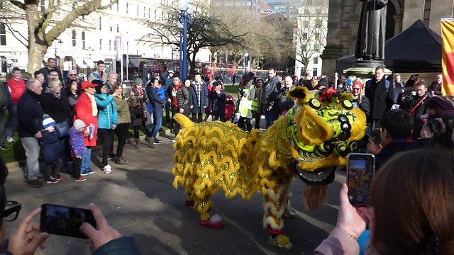 Yellow dragon for Chinese New Year - Birmingham Cathedral - HD video clip