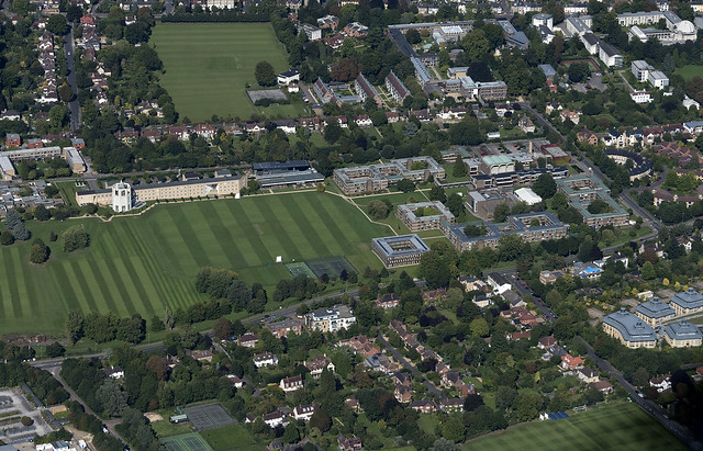 Churchill College at Cambridge University - aerial image