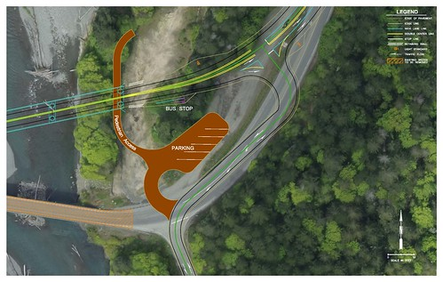 Elwha River bridge - Close up view of parking and transit stops | by WSDOT