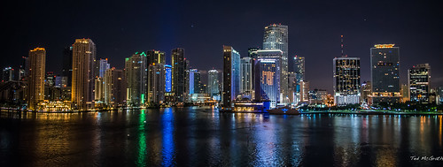 2017 cropped miami nikon nikond750 nikonfx regentcruise tedmcgrath tedsphotos vignetting reflection waterreflection nightscene nightlighting sevenseasexplorer portofmiami highrise buildings wideangle widescreen