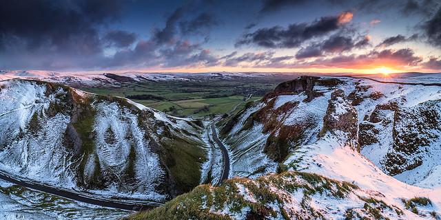 Winter sunrise from Winnats Pass