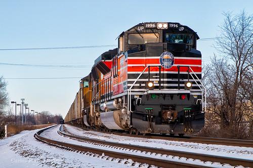up union pacific 1996 southern heritage unit daylight locomtive railroad rail road rails emd sd70ace locomotive columbus ohio sandusky district coal 851 sp espee sunset 2017 december 31