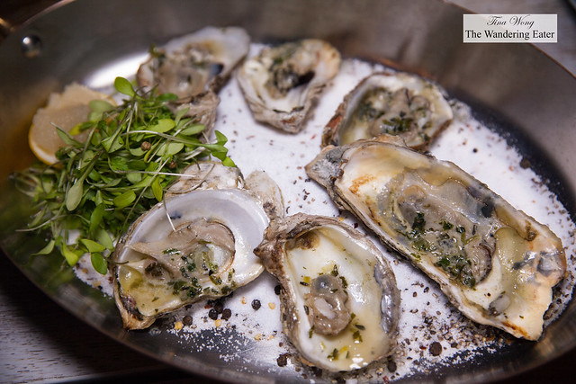 Atlantic Grilled Oysters, Lemon Scallion, Celery Leaves