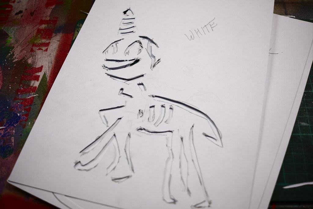 Demon unicorn stencil, Alternative London studio | Mary and