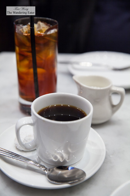 Iced coffee and hot black coffee