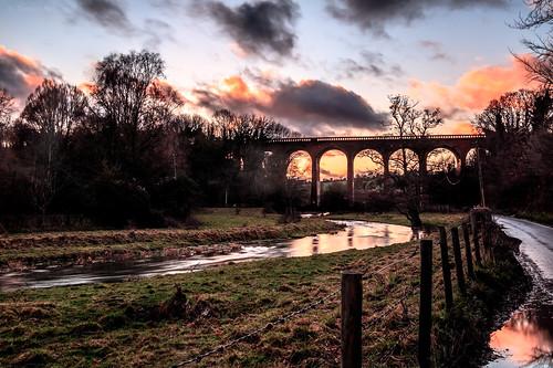 eynsford england unitedkingdom gb railway bridge viaduct sunset beautiful stunning countryside river lane fence clouds orange pink hdr canon nature landscape photography landscapephotography naturephotography