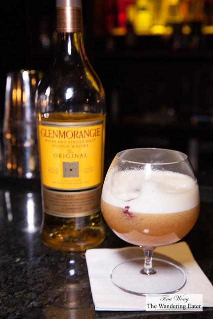 Glenmorangie Single Malt Scotch inspired by guava - Fresh ginger, shiso, passion fruit, egg white and fresh raspberries