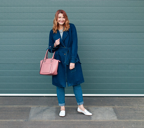 Winter to spring transitional outfit - Denim trench coat, pinstripe boyfriend jeans, white loafers, pink tote bag | Not Dressed As Lamb, over 40 style | by Not Dressed As Lamb