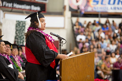 Student speaker Anne Rivera at the campus' commencement ceremony on December 16, 2017.  Photo by Everette Ganir