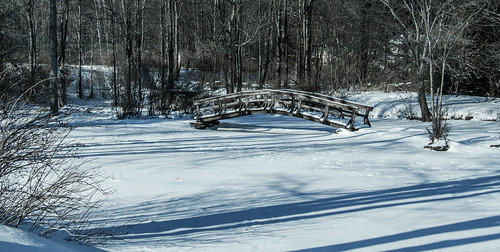 shadows bridge footbridge pond snow winter sullivancounty landscape canon18135mmstmlens hss