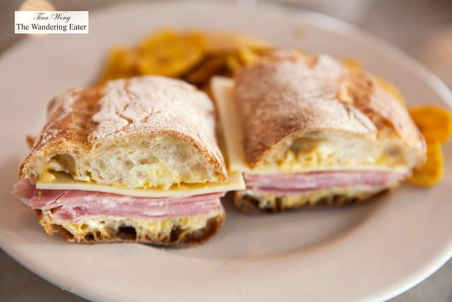 Ham and cheese sandwich with Dijon mustard, cornichons, ciabatta