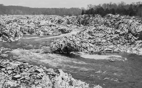 virginia blackandwhite greatfalls ice landscape potomacriver river snow water waterfall winter
