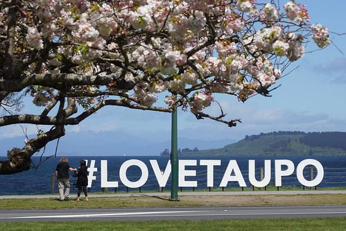 taupo town newzealand nz lake laketaupo sign tauposign spring waikato