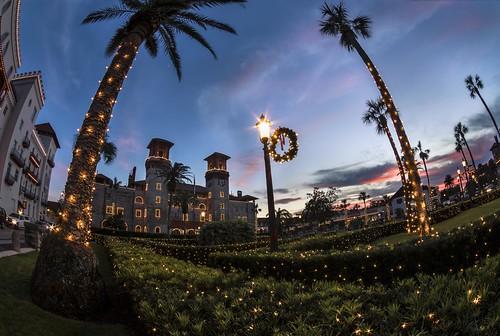 christmas lights landscape night florida st augustine coast