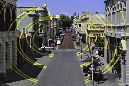 australien fremantle kunst westernaustralia opticalillusionartwork illuisionskunstwerk stadt city highstreet historiccity yellow gelb nikon kati katharina 2017