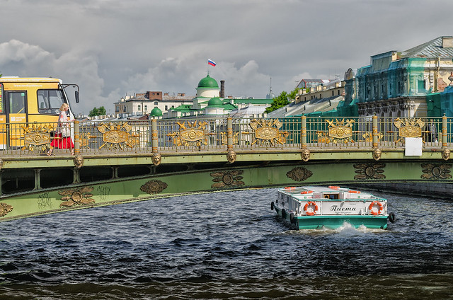 A view of the Panteleymonovsky bridge in Saint Petersburg.