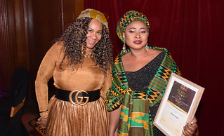 DSC_6965a Black British Entertainment Awards BBE Dec 2017 at Porchester Hall London by Jean Gasho Co Founder of BBE with Nicole from Philadelphia and Maria Lovell CEO of The Ghana Society UK and Miss Tourism Ghana UK