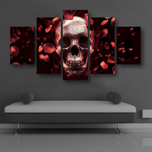 2017-5-Piece-Unframed-Rose-and-Skull-Artwotk-Canvas-Painting-Pictures-for-Home-Decoration-Modern-Abstract