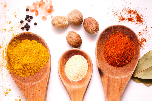 Chili, Curry, Garlic Spices  in Wooden Spoon | by wuestenigel