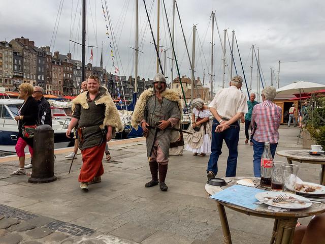 people from history walk again, Quai Saint Etienne, Honfleur, Calvados, Normandy, France