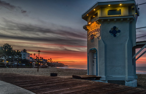 california hdr lagunabeach mainbeach nikon nikond5300 pacificocean beach boardwalk clouds geotagged lifeguardtower longexposure morning ocean sand sky sunrise water unitedstates