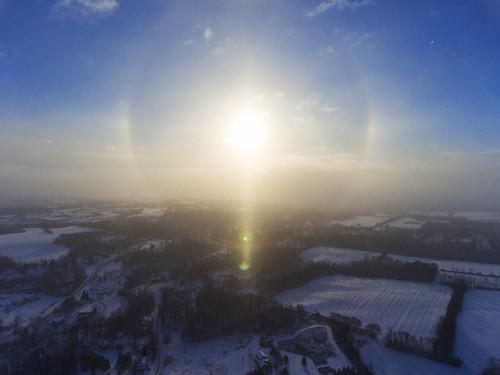 beautiful morning sunrise sunstar dust stardust peace peaceful halo sundogs 2017 nature rainbow snow snowing cold arctic frozen aerial aerialphotography dronephotography drone drones dji djiphantom4 phantom4