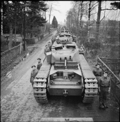 Line-up of Churchill Mk II tanks