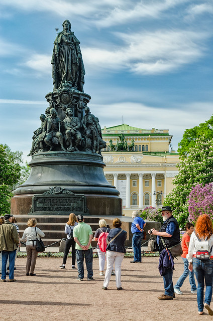 A view of the Ostrovsky Square Garden in Saint Petersburg.