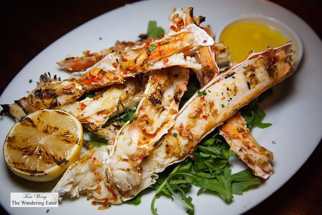 Grilled King crab legs and side of melted butter