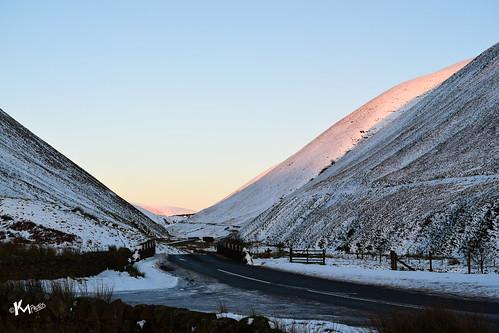 scotland unitedkingdom gb grey mares tail valley sunset snow