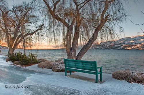"bench peachland beach snow kelowna sunset sunrise sun set rise walk icy joeinpenticton joe jose garcia ice sidewalk side okanagan lake oknaogan valley bc british columbia winter mountain provincial park ""okanagan park"""