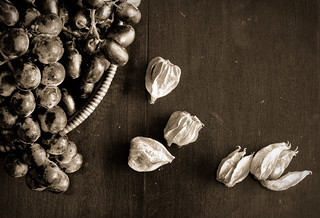 Still life with grapes & cape gooseberries (mono) | by More Ants