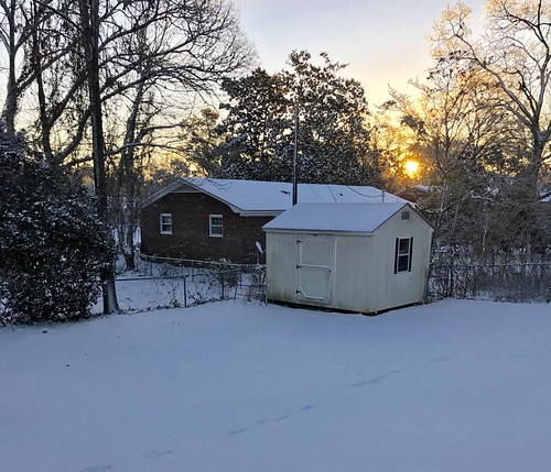 yard sunrise snow