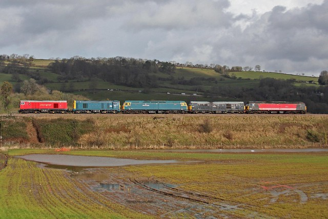 20s leading 47s and 31 passing Newton Meadows working Okehampton - Derby Gas Works Sidings 25-02-2014