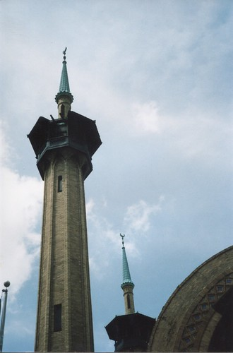 minaret luzernecounty wilkes barre pa pennsylvania irem temple mosque abandon shriners headquarters mason masonic lodge historic nrhp entrance building vacant downtown onasill site architecture moorish style chamber commerce owner river street district shine shiners restoration future tree tower sky grass road vintage photo old omar outside after court lions alhambra palace inside