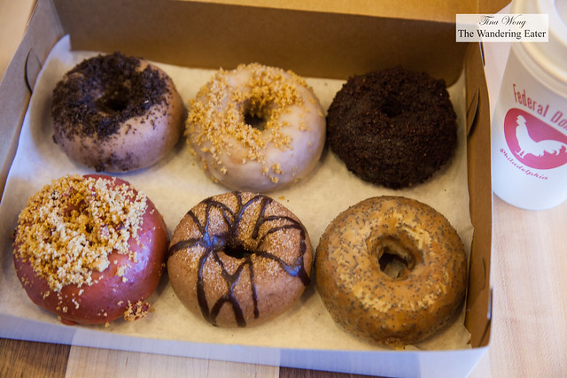 Our half dozen of fancy doughnuts -  Passion Fruit Poppy, Triple Chocolate, Churro, Crumberry, Cookies n Cream