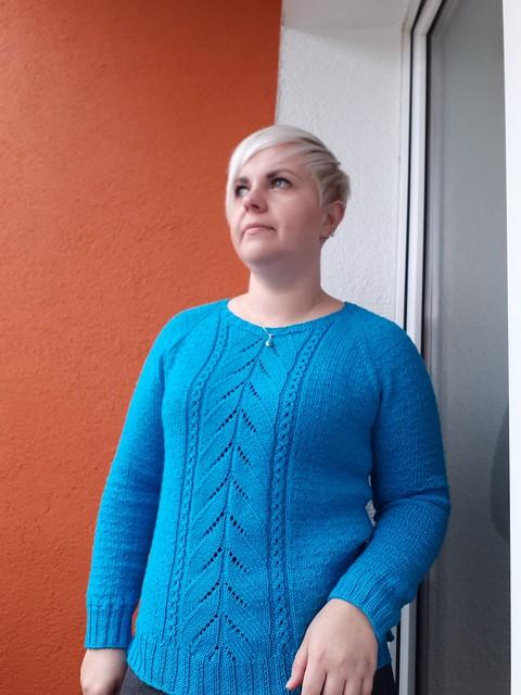 Turquoise cotton merino jumper