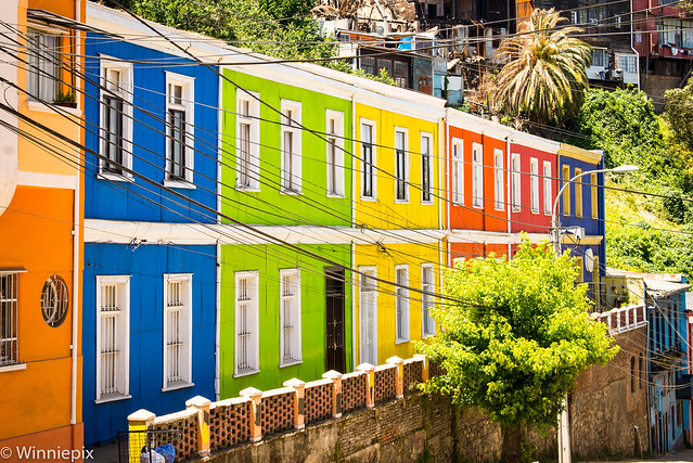 Brightly coloured houses in Valparaiso, Chile