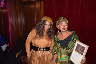 DSC_6965 Black British Entertainment Awards BBE Dec 2017 at Porchester Hall London by Jean Gasho Co Founder of BBE with Nicole from Philadelphia and Maria Lovell CEO of The Ghana Society UK and Miss Tourism Ghana UK